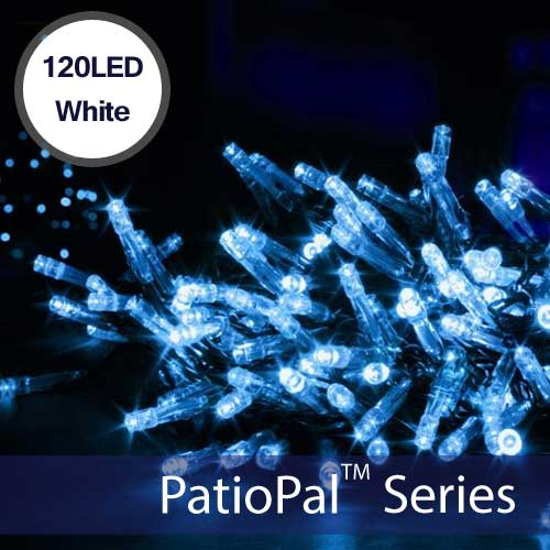 102 LED White Solar Holiday Christmas Lights (Alternating)