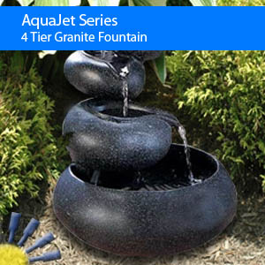 4 Tier Granite Solar Fountain Solar Powered Water Fountain