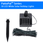 PatioPal Series 50 LED White Solar Holiday Lights