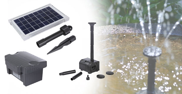 AquaJet Solar Water Fountain Pump Kits