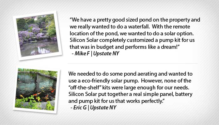Custom Solar Water Pump Testimonials