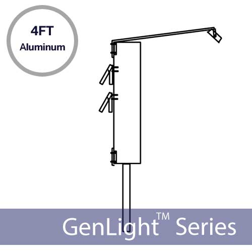 GenLight 4FT Top / Bottom Mounting Pole Extension