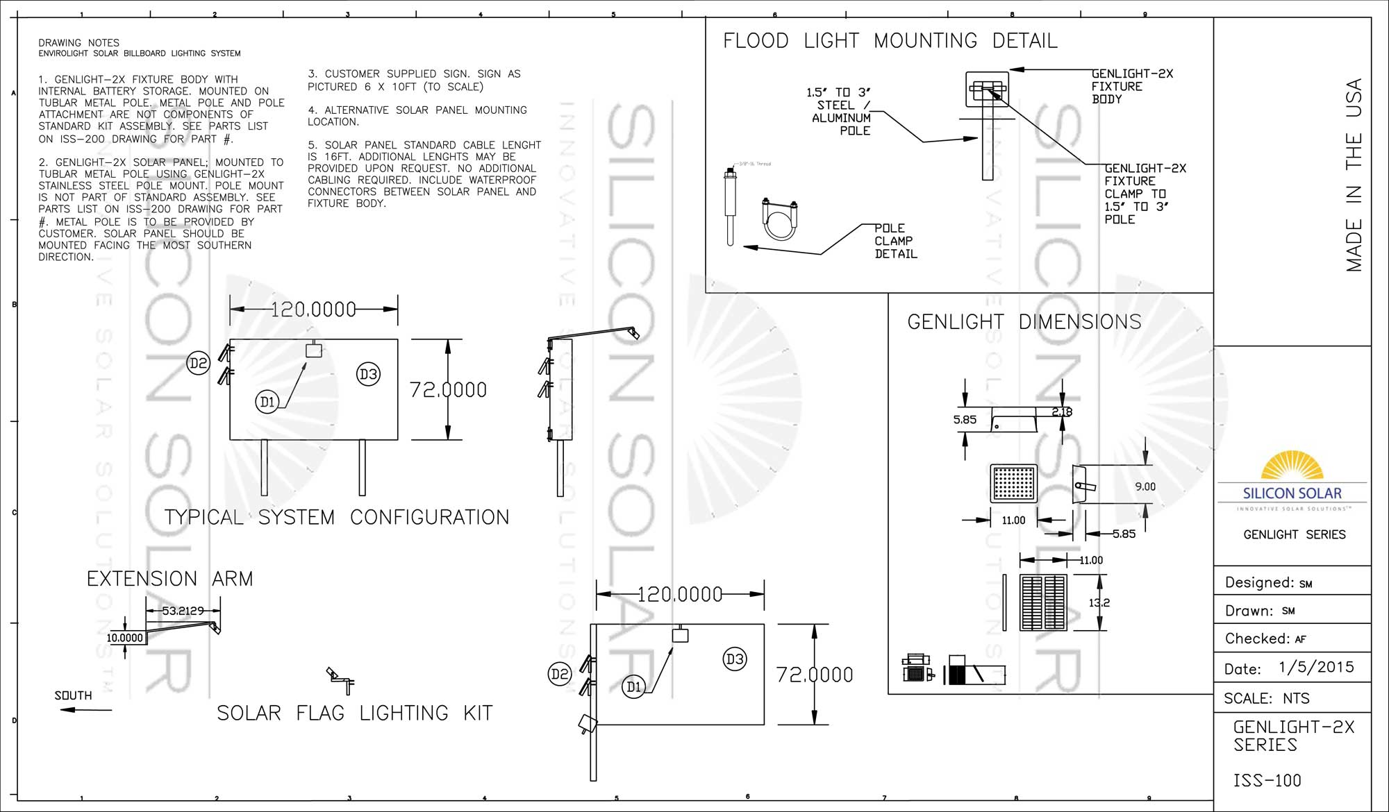 GenLight Mounting CAD Drawing & Submittal