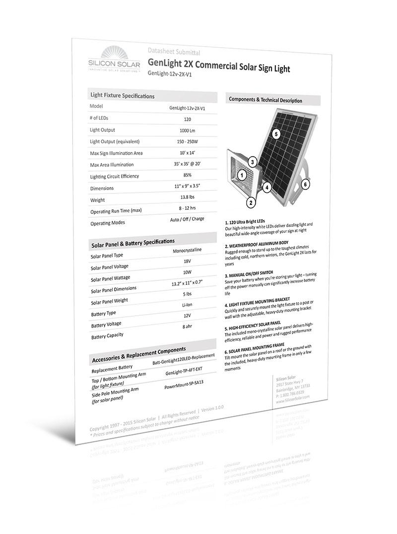 GenLight 2x Commercial Solar Sign Light