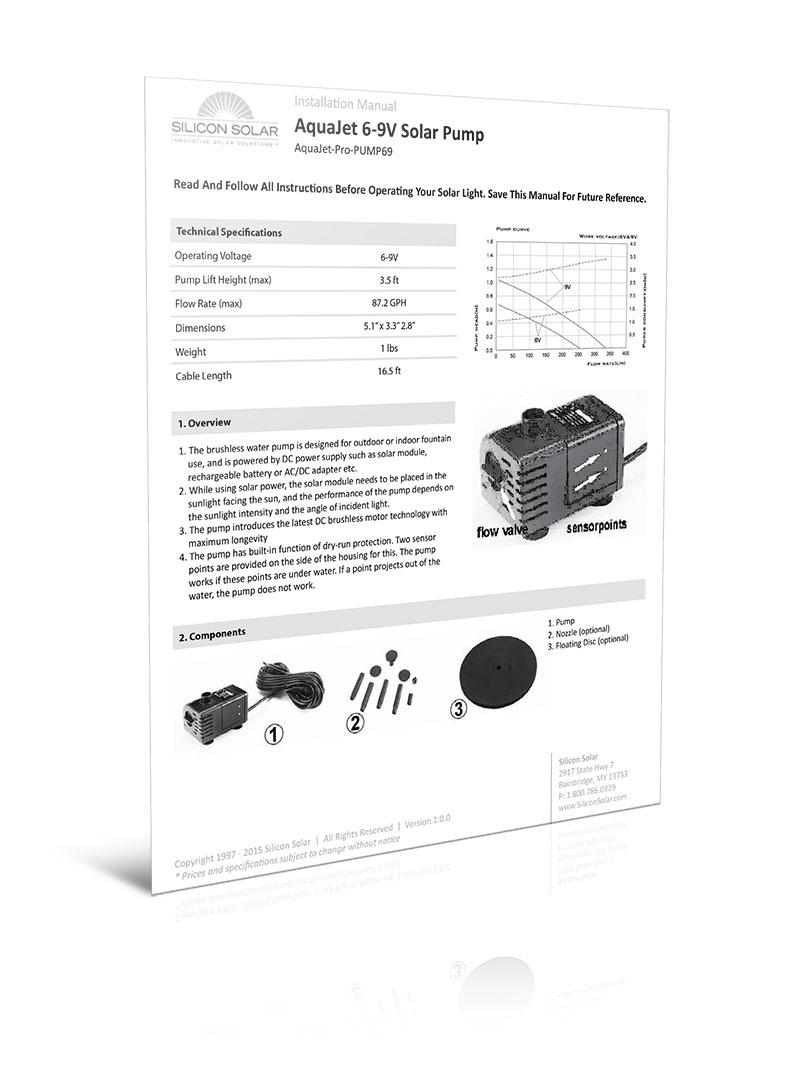 AquaJet 6-9V Solar Fountain Pump