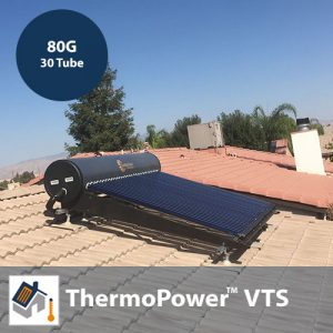 ThermoPower VTS 30 Tube / 80G Thermosyphon Solar Hot Water Kit With Heat Pipes