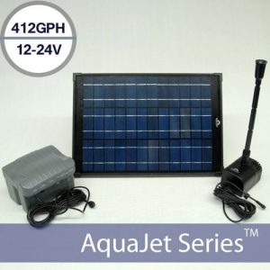 AquaJet 24V Solar Water Fountain Kit Night and Day