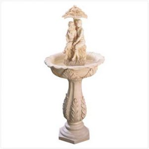 AquaJet Couple Solar Powered Cascading Birdbath Water Fountain