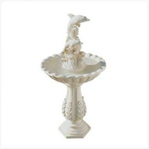AquaJet Dolphin and Waves Solar Powered Cascading Birdbath Water Fountain