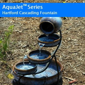 Hartford Cascading Solar Fountain Birdbath