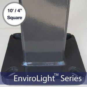 Square LED Light Mounting Pole – 10′ / 4″