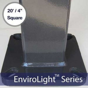 Square LED Light Mounting Pole – 20′ / 4″