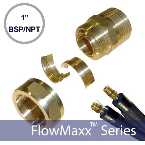 FlowMaxx 1in BSP to NPT Line Set Fittings – Male Thread