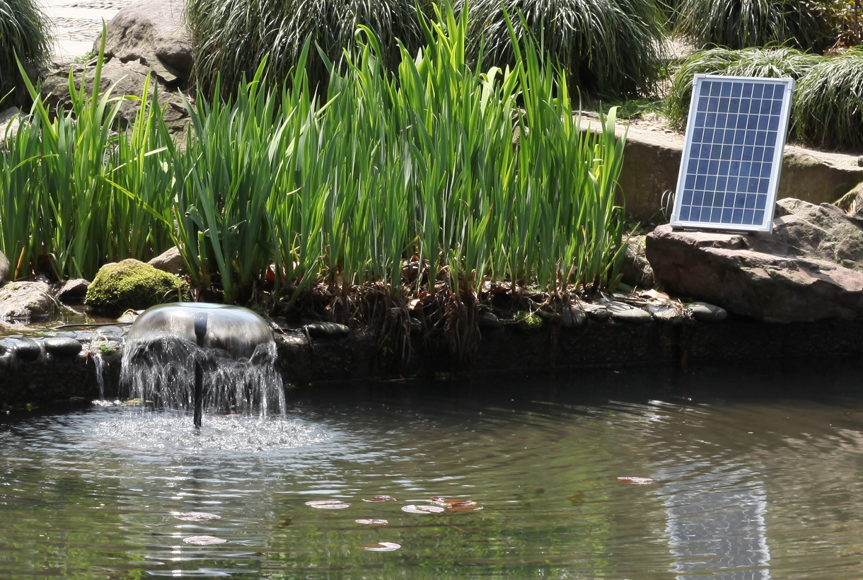 Solar water fountain medium output pump kit 12 24v 360 gph for Pond features and fountains