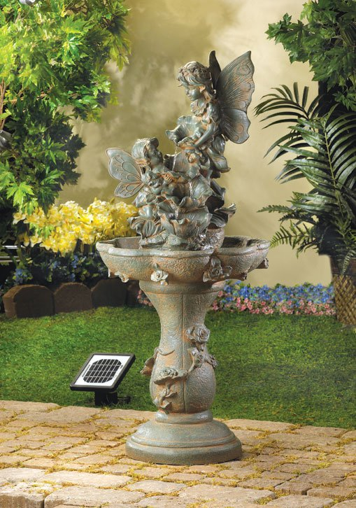 AquaJet Fairy Solar Powered Cascading Birdbath Water Fountain