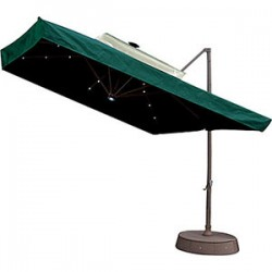 Patio Umbrella w/ Netting and Solar Lights - Green
