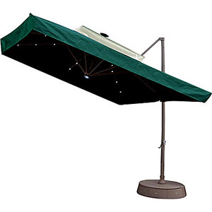 Patio Umbrella w/ Netting and Solar Lights – Green