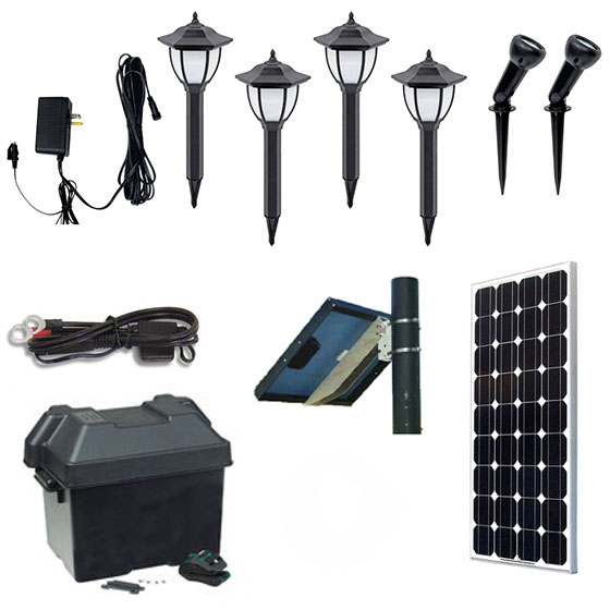 Solar landscape lighting kit solscape 3x solar landscape lighting kit landscape spotlight fixtures aloadofball Choice Image