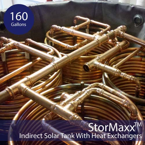 160 Gallon non-pressurized-Solar Hot Water Tank 2HX